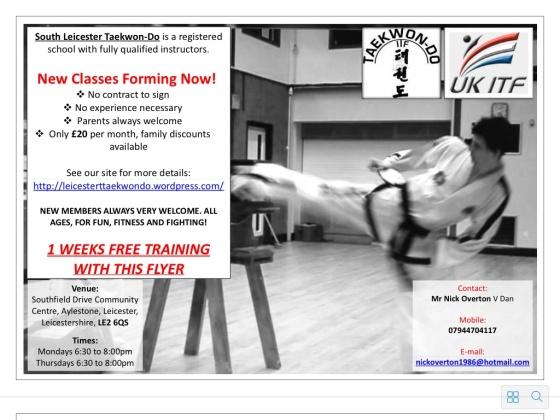 The leaflet advertising South Leicester Taekwondo.